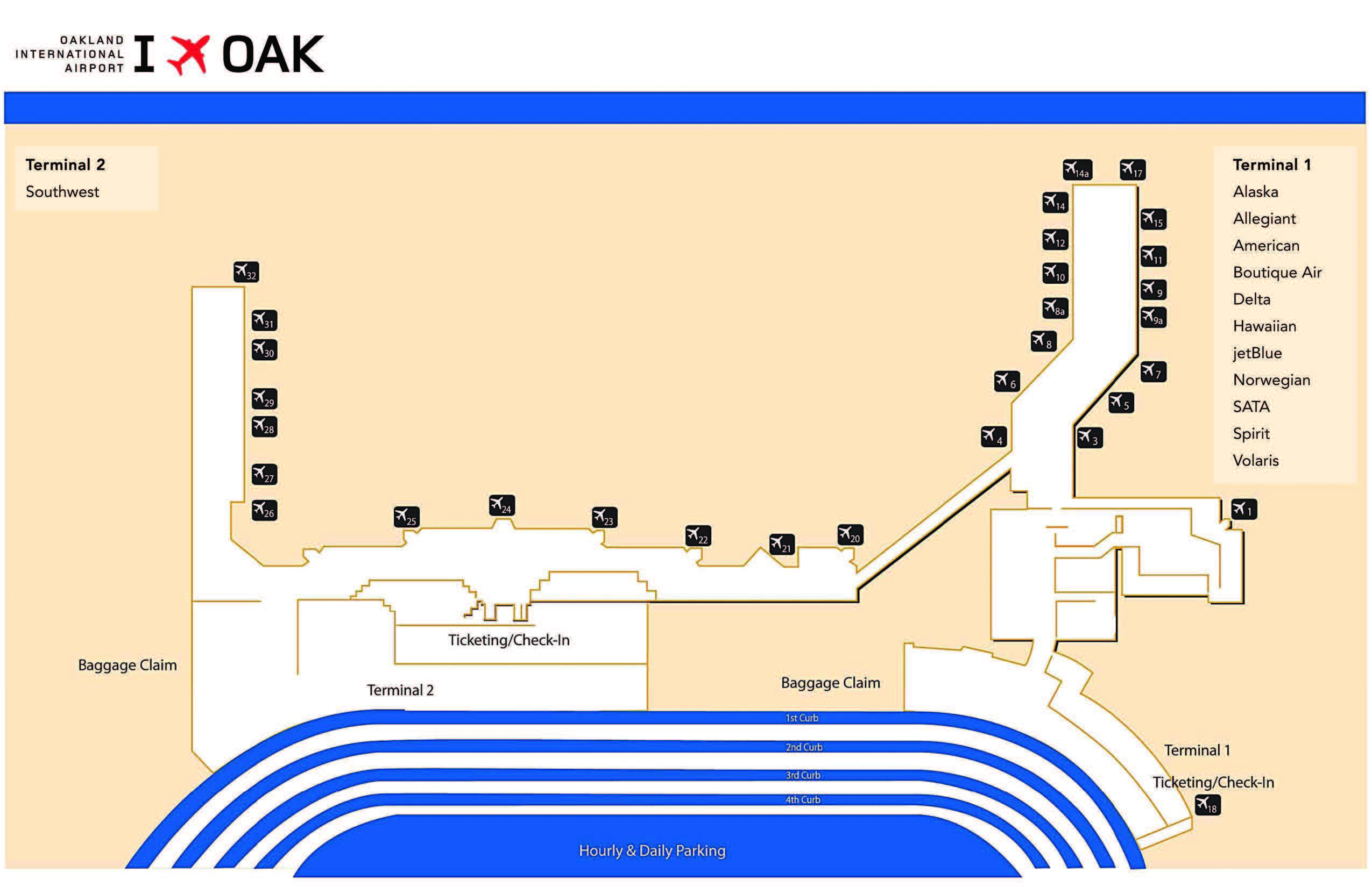 Oakland Airport Terminal Map Airport Terminal Map   Oakland International Airport Oakland Airport Terminal Map