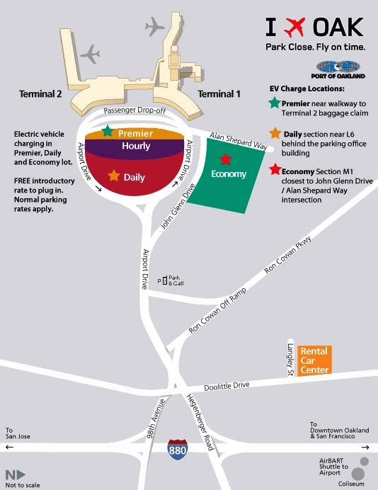 map of oakland airport Airport Roadway Parking Map Oakland International Airport map of oakland airport