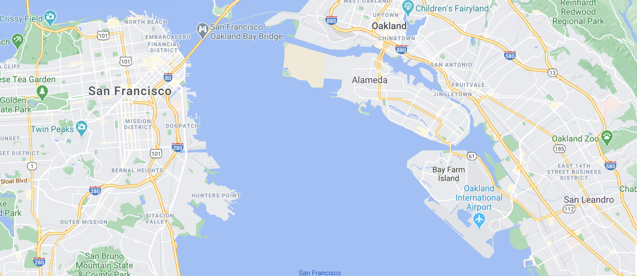 Airport of Oakland Location Map