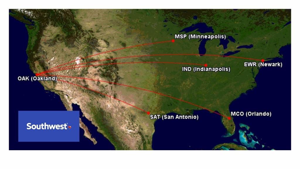 Southwest Airlines Announces Four New Nonstop Destinations at OAK